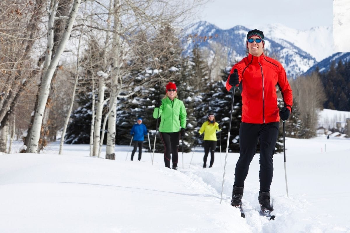 Family nordic skiing in winter outdoors.