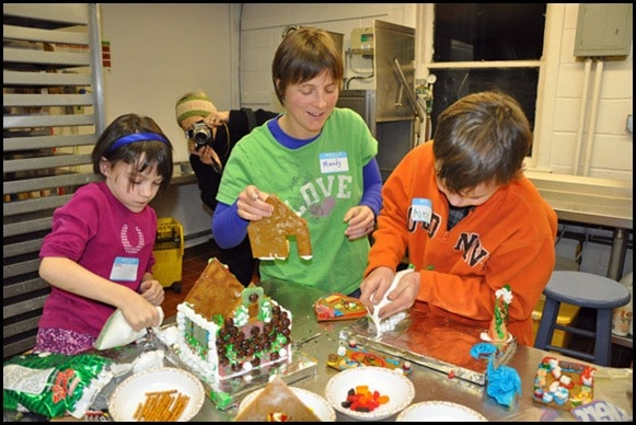 Building gingerbread houses with kids.