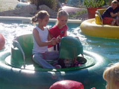 Girls on bumper boats at Oasis Park.