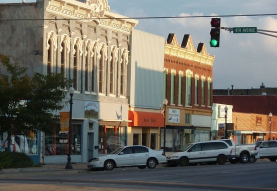 Modern day business district of Emporia, Kansas