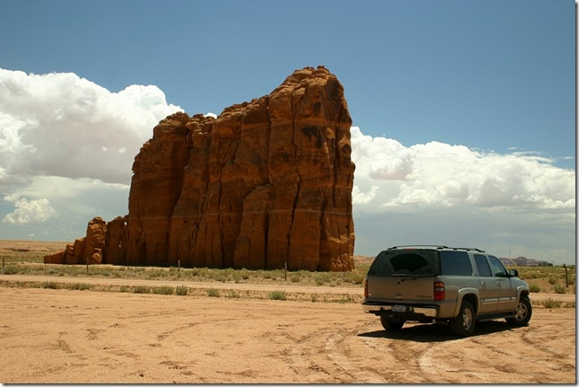 Chevy Suburban - A red rock in Arizona.