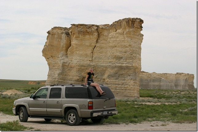 Girl on Chevy Suburban - Monument Rocks, Kansas