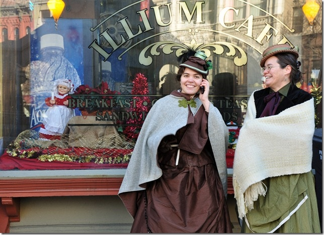 Victorian Stroll - Troy, NY- Victorian ladies with iPhone