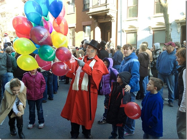 Victorian Stroll - red frock and balloons