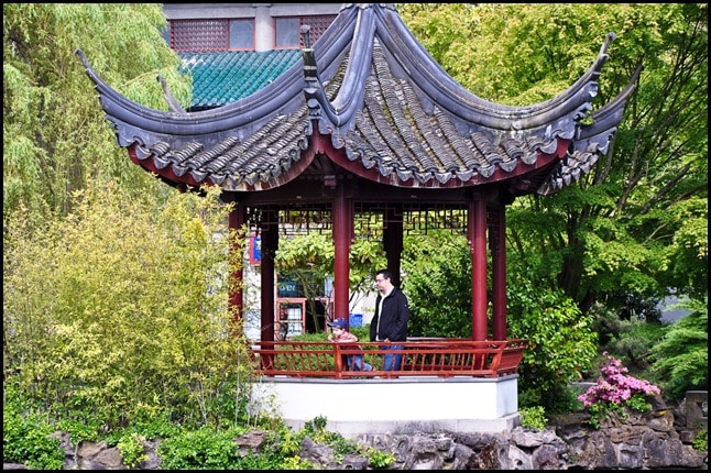 Vancouver Chinese Garden - a boy and his dad.