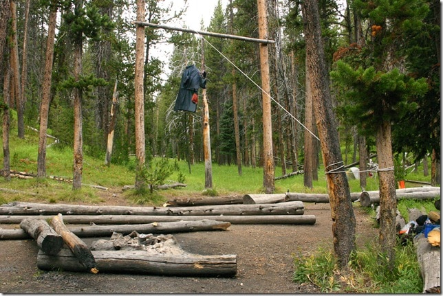 Bear-proofing backpacks - Yellowstone National Park