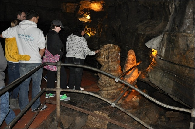 Howe Cavern - touchable stalagmite.