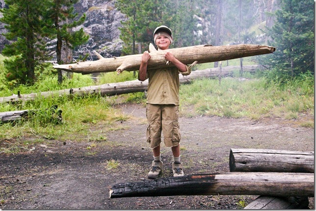 Hauling wood for the campfire on backpaking trip in  Yellowstone National Park.