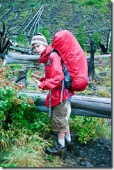 Boy goes backpacking in Yellowstone National Park.