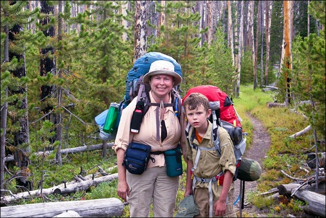 mother and son backpacking Yellowstone National Park