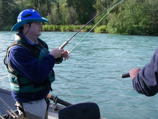 Lee fly fishing with Mike Welemin