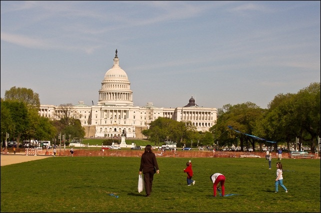 Flying kites on the mall - Washington, D.C.