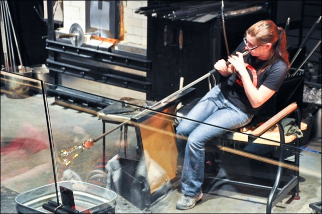 corning glass museum blowing glass