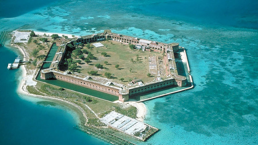Fort Jefferson at the Dry Tortugas. The clear waters in shallow areas surrounding the fort, seen easily in the photo, are popular for snorkeling and scuba diving.