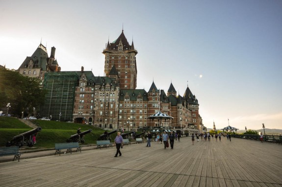 On the boardwalk in Quebec City, looking on Chateau Frontenac.