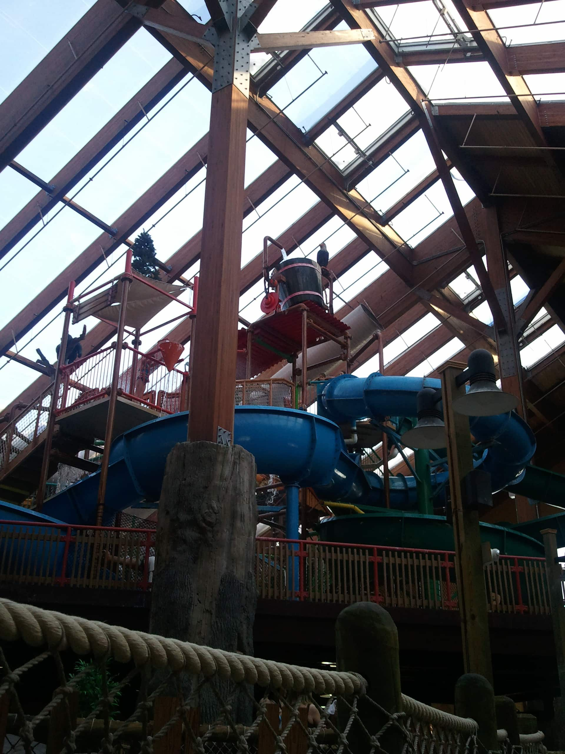 A maze of water slides, Great Escape White Water Bay Indoor Water Park