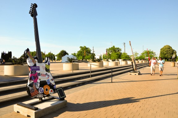 Guitar art at the Rock and Roll Hall of Fame in Cleveland.