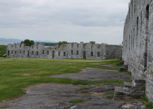 View of both surviving barracks, Fort Crown Point, NY