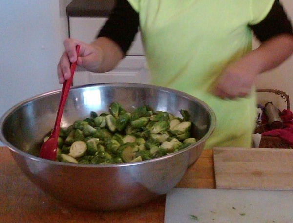 Seasoning brussels sprouts kids healthy cooking class