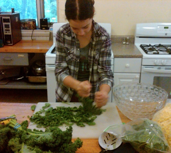 Chopping kale kids healthy cooking
