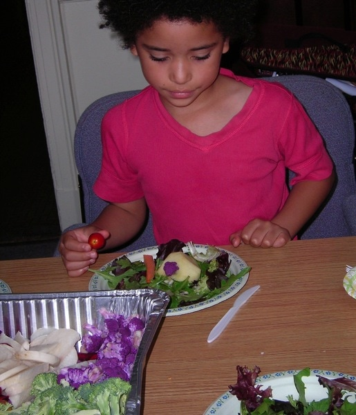 Kids healthy cooking class bunny salad