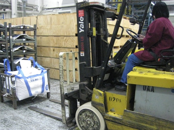 Philadelphia Mint Giant Bag of Pennies Needs a Forklift!