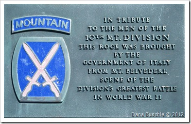 10th Mountain Division monument plaque, Little Whiteface Cloudsplitter Gondola, Lake Placid