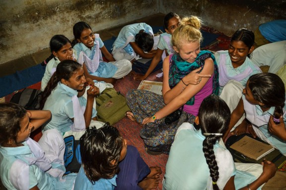 Giggling girls at village school - Jaipur, India
