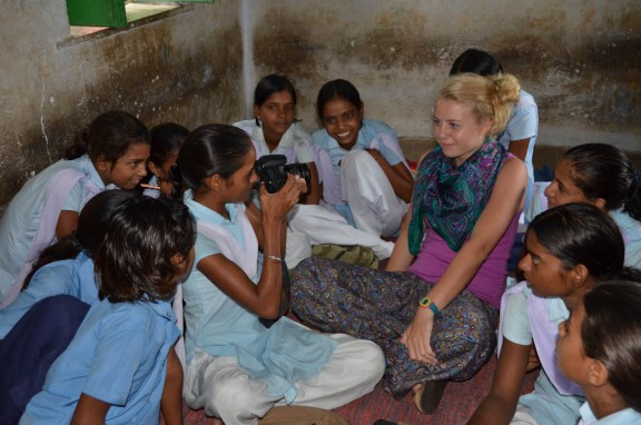 Photography lessons at village school - Jaipur, India