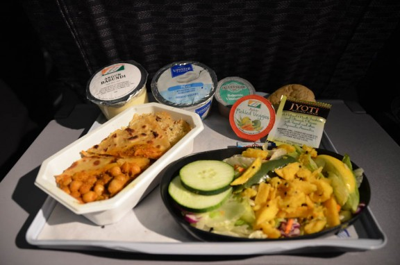 United Airlines Indian vegetarian meal