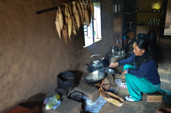 Woman cooking over fire - Nepal