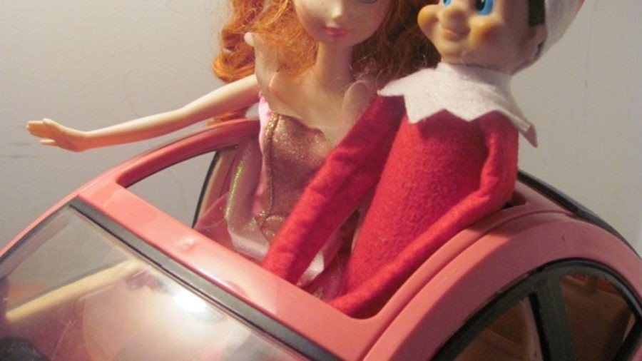 Elf on a Shelf and Barbie on a play date.