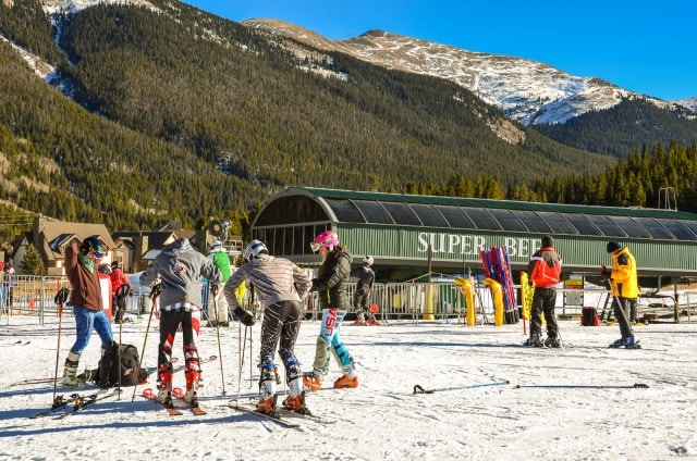 Ski racers in front of the Super Bee chair lift.   Copper Mountain   Copper Mountain, CO