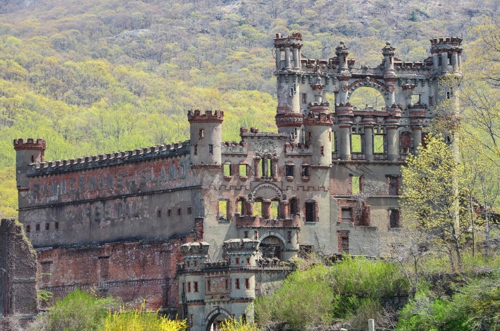 Exterior shot of Bannerman Castle on Pollepel Island in the Hudson River.