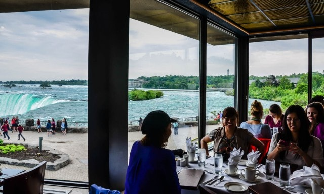 Dining with a view of the Horseshoe Falls at Element of the Falls Restaurant in Niagara Falls, Ontario