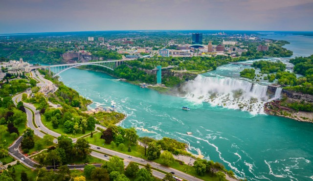 Rainbow Bridge viewed from Skylon Tower  - Niagara Falls, ON