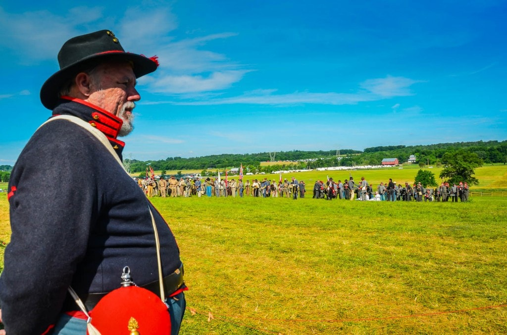 Soldier in profile looking over Redding Farm as it sees staging of the Battle of Gettysburg on the 150th Anniversary.