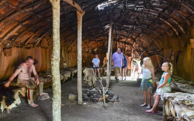 Inside the Long House - Wampanoag Homesite - Plimoth Plantation - Plymouth MA