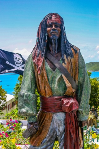 Statue of Pirate Captain John Henry Avery at Blackbeards Castle in St. Thomas, US Virgin Islands.