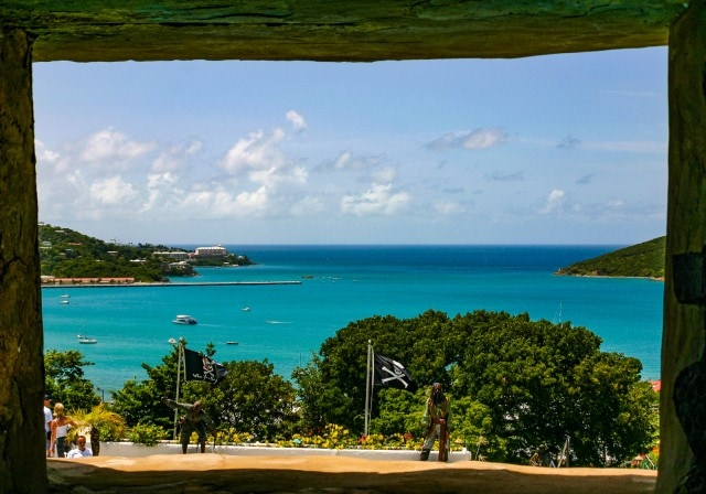 View of Charlotte Amalie harbor from Blackbeards Castle in St. Thomas, US Virgin Islands.