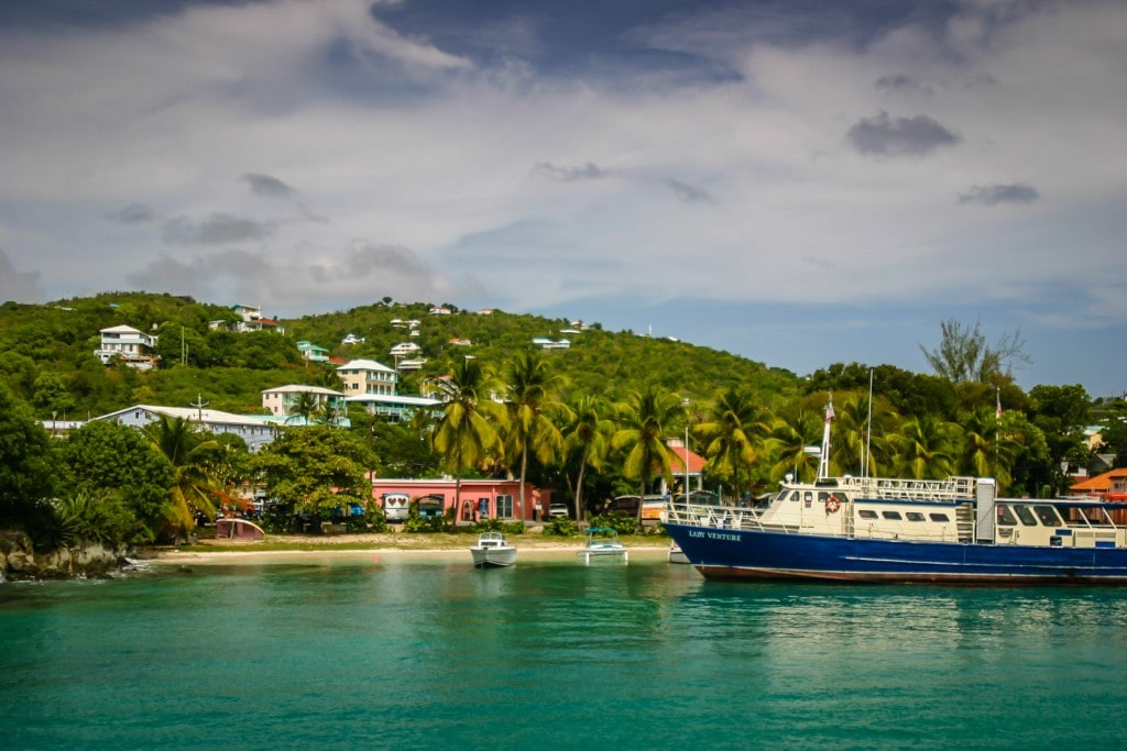Ferry arriving in Cruz Bay on St. John, US Virgin Islands.
